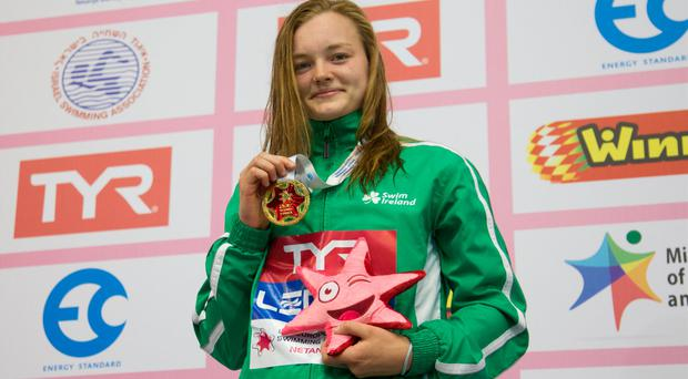Mona McSharry of Ireland, pictured here after receiving her gold medal at the European Junior Swimming Championships earlier this summer