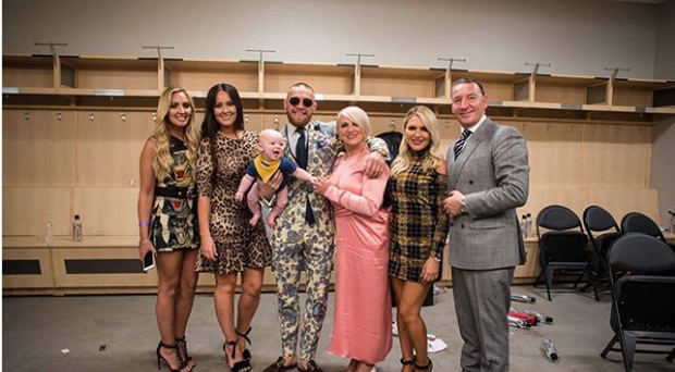 Dee Devlin posted this photo of McGregor family after the press conference in Las Vegas including Conor, Conor Jnr, parents Tony and Margaret, and sisters Erin and Aoife Photo: Deedevlin1 on Instagram