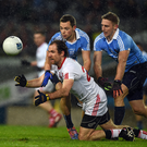 11 February 2017; Hugh Pat McGeary of Tyrone in action against Dean Rock and Eoghan O'Gara of Dublin during the Allianz Football League Division 1 Round 2 match between Dublin and Tyrone at Croke Park in Dublin. Photo by Ray McManus/Sportsfile