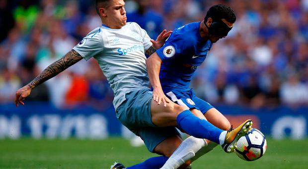 Chelsea's Pedro in action with Everton's Muhamed Besic