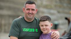 Shane Bissett and his son Jack together have lost 6 stone and have grown in confidence. Photo: Ciara Wilkinson