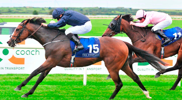 Rain Goddess ridden by Ryan Moore (left) wins The Snow Fairy Stakes during Tipperary Crystal Race Day at Curragh Racecourse yesterday. Photo: PA