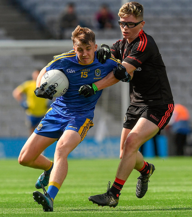 Roscommon's Ciarán Sugrue in action against Conor Ward of Tyrone during the All-Ireland U17 Football Championship Final at Croke Park in Dublin. Photo: Ray McManus/Sportsfile