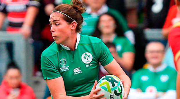 Ireland's Nora Stapleton gets the ball away during the match against Wales. Photo: Oliver McVeigh/Sportsfile