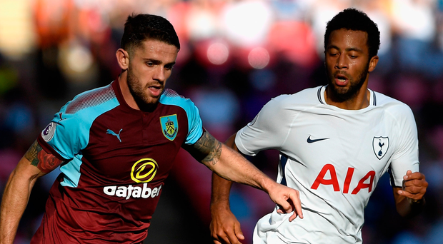 Robbie Brady gets the better of Tottenham's Mousa Dembele during yesterday's match at Wembley. Photo: Mike Hewitt/Getty Images
