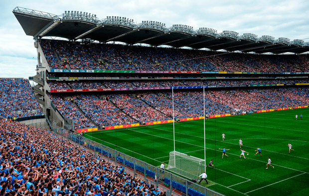 Con O'Callaghan rifles home Dublin's opening goal during the opening minutes of yesterday's All-Ireland SFC semi-final against Tyrone. Photo by Brendan Moran/Sportsfile