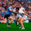 Con O'Callaghan of Dublin in action against Tiernan McCann of Tyrone. Photo by Ray McManus/Sportsfile