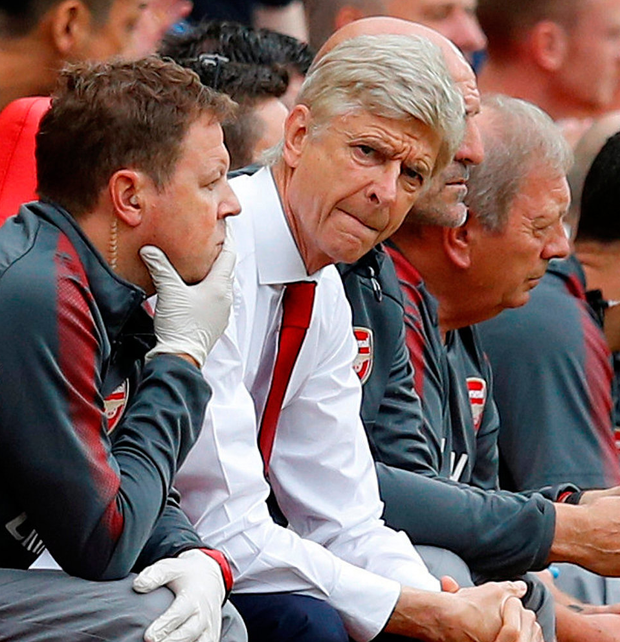 Arsenal manager Arsene Wenger looks pensive during yesterday's match.Photo: Phil Noble/Reuters