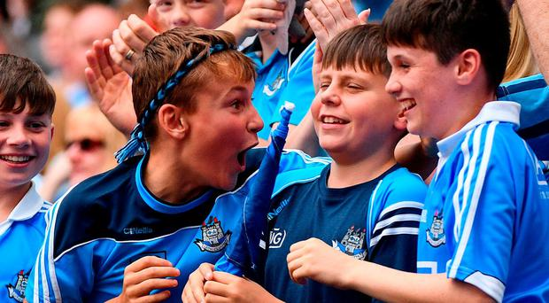 Dublin supporters celebrate the opening goal of the semi-final. Photo: Sportsfile