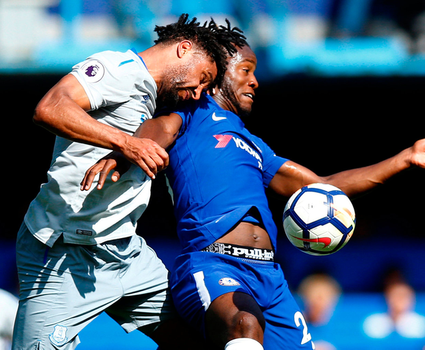 Chelsea's Michy Batshuayi in action with Everton's Ashley Williams. Photo: Peter Cziborra/Reuters
