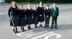 Some of the pupils denied bus places. From left: Alice Dunne (17), Clodagh Dunne (16), Ellen Dunne (12), Katie Purcell (12), Niamh Conroy (13), Michael Whyte (13) and Tiernan Kelly (14). Photo: Alf Harvey.
