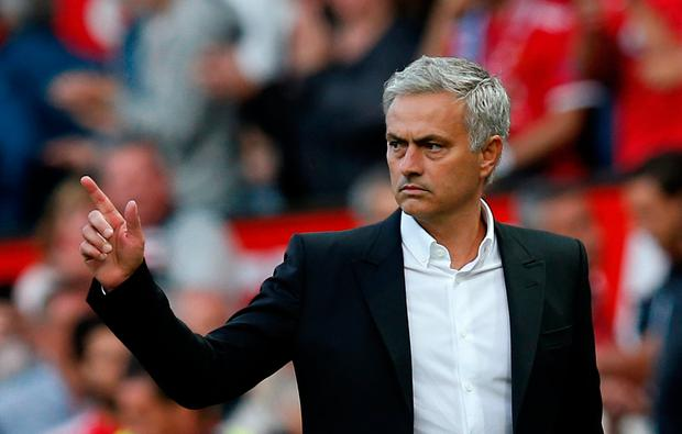 Manchester United manager Jose Mourinho celebrates at the end of the match. Photo: Andrew Yates/Reuters