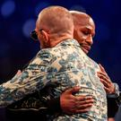 Floyd Mayweather Jr, right, and Conor McGregor during the post fight press conference. Photo by Stephen McCarthy/Sportsfile