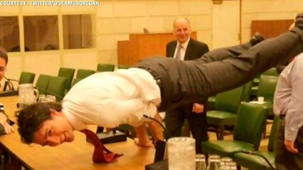Canadian leader Justin Trudeau shows off his yoga skills