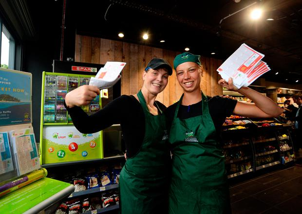 2Shop managers Ulrika Campbell, left, and Ana Horvat of the Spar shop on the corner of Talbot street and Amiens Street, Dublin. Picture: Caroline Quinn