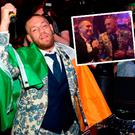 Conor McGregor chats to Robbie Keane at the after-show party