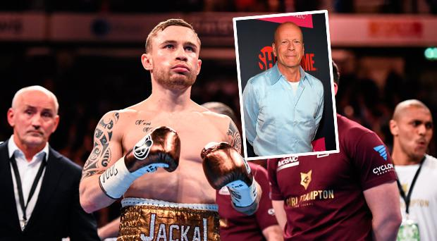 Carl Frampton and (inset) Bruce Willis at the McGregor v Mayweather fight