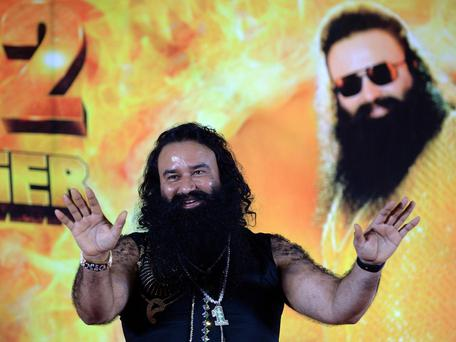 Gurmeet Ram Rahim Singh at a news conference to launch the score for his film 'MSG-2 The Messenger' in Mumbai AFP/Getty Images