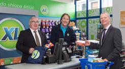 Colm Fitzsimmons, XL national business development manager, Paul Mc Cluskey (aka Vince, Ros na Rún) and John Moane, MD at BWG Wholesale