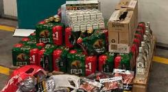 The alcohol and cigarettes that were seized at Dublin Airport