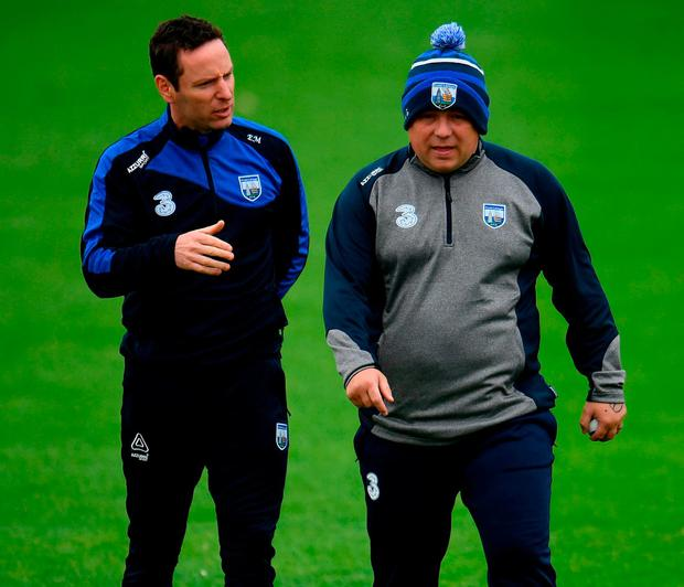 Waterford manager Derek McGrath, right, and selector Eoin Murphy. Photo by Sam Barnes/Sportsfile