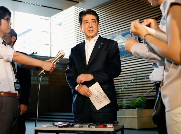 Japanese Prime Minister Shinzo Abe speaks to reporters about North Korea's missile launch in Tokyo, Japan in this photo taken by Kyodo on August 29, 2017. Mandatory credit Kyodo/via REUTERS ATTENTION EDITORS - THIS IMAGE WAS PROVIDED BY A THIRD PARTY. MANDATORY CREDIT. JAPAN OUT. NO COMMERCIAL OR EDITORIAL SALES IN JAPAN. TPX IMAGES OF THE DAY