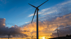 The wind farm consists of 25 turbines with a top height of up to 169m. Stock Image