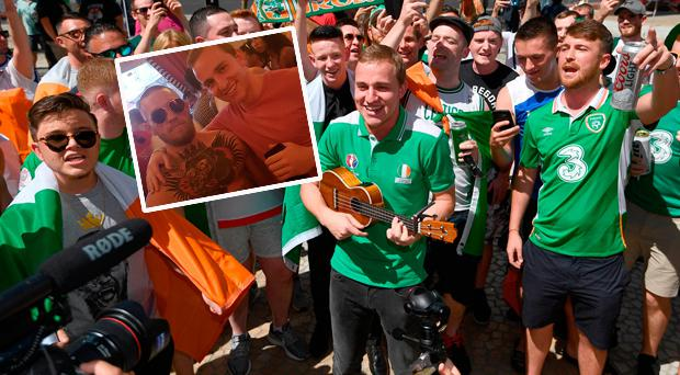 Mick Konstantin performs with Irish in Vegas and (inset) with Conor McGregor ar the pool party in the Wynne Hotel