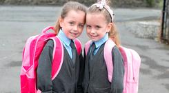 5-year-old twins Sophia and Pippa Devane will start school at St Joseph's Girls National School in Mountmellick, Co Laois. Picture: Alf Harvey.