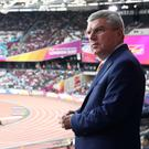 IOC President Thomas Bach looks on during day one of the 16th IAAF World Athletics Championships London 2017 at The London Stadium on August 4, 2017 in London, United Kingdom. (Photo by Alexander Hassenstein/Getty Images for IAAF)