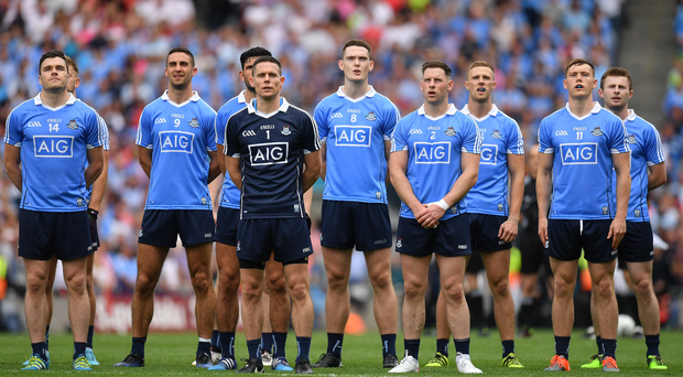 The Dublin team stand for the national anthem before the GAA Football All-Ireland Senior Championship Semi-Final match between Dublin and Tyrone at Croke Park in Dublin. Photo by Brendan Moran/Sportsfile