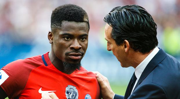 Paris Saint-Germain's Spanish head-coach Unai Emery (R) talks with Paris Saint-Germain's Ivorian defender Serge Aurier (L) prior to the French Cup final football match between Paris Saint-Germain (PSG) and Angers (SCO) on May 27, 2017, at the Stade de France in Saint-Denis, north of Paris. (Photo by Geoffroy Van der Hasselt/NurPhoto via Getty Images)
