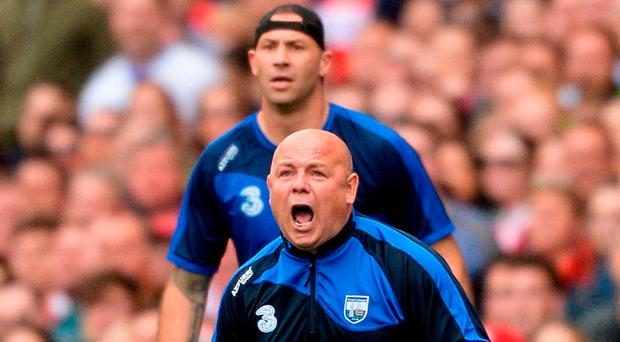 Waterford manager Derek McGrath and Dan Shanahan on the Croke Park sideline against Cork. Photo: Piaras Ó Mídheach/Sportsfile