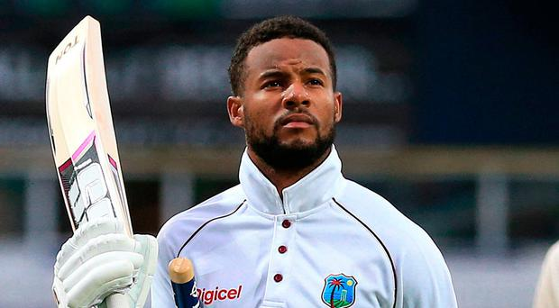 West Indies Shai Hope takes the applause after scoring the winning runs during day five of the the second Investec Test match at Headingley, Leeds. Photo: PA