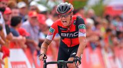 Nicolas Roche crosses the line yesterday after closing the gap on Vuelta leader Chris Froome