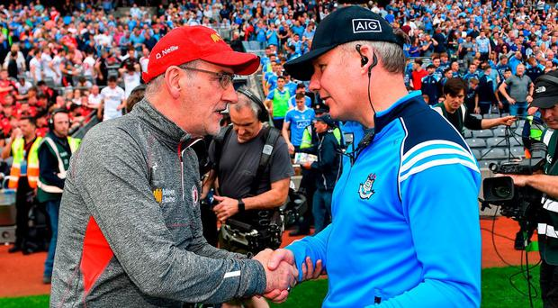 Mickey Harte has no reason to be embarrassed following Tyrone's heavy loss to Jim Gavin's Dublin. Photo: RAMSEY CARDY/SPORTSFILE