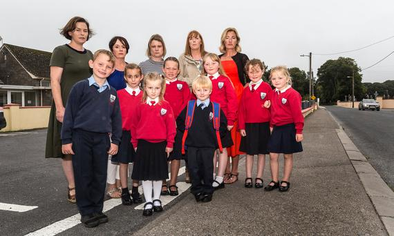 Parents at Scoil Mhuire Gan Smál in New Inn, Co Tipperary, Mary Newman, Colette Moloney, Sinead Fitzgerald, Benvon Corcoran and Shirley Lawrence with children James Julian, Shóna Moloney, Adele Fitzgerald, Matilda Lawrence, Brian Corcoran, Rachel Corcoran, Cathy Julian and Elizabeth Julian. Photo: Andy Jay