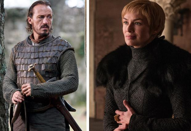Jerome Flynn as Bronn, left, and Lena Headey as Cersei Lannister, right, in Game of Thrones