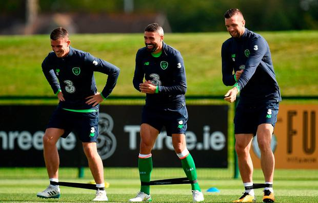 Republic of Ireland players, from left, Ciaran Clark, Jonathan Walters and Shane Duffy during squad training at the FAI NTC in Abbotstown, Dublin. Photo by Seb Daly/Sportsfile