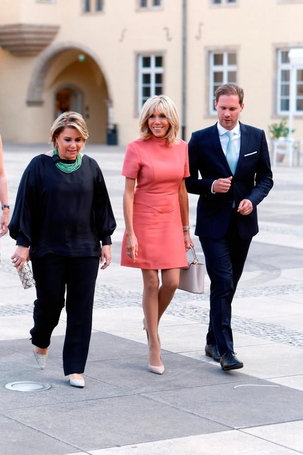 (R to L) Grand Duchess Maria Teresa of Luxembourg, Brigitte Macron-Trogneux, France's first lady, Luxembourg Prime Minister's husband Gauthier Destenay visit Luxembourg's Neumunster Abbey during a one day state visit on August 29, 2017 in Luxembourg, Luxembourg. (Photo by Sylvain Lefevre/Getty Images)