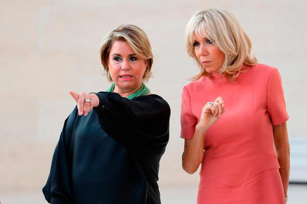 Maria Teresa (L), Grand Duchess of Luxembourg, and Brigitte Macron, wife of the French president, visit the MUDAM contemporary art museum in Luxembourg on August 29, 2017. French President Emmanuel Macron is on a visit to Luxembourg. / AFP PHOTO / LUDOVIC MARINLUDOVIC MARIN/AFP/Getty Images