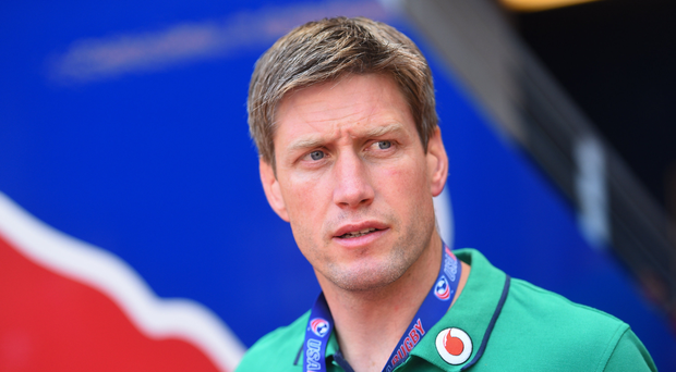 Ireland coach Ronan O'Gara ahead of the international match between Ireland and USA at the Red Bull Arena in Harrison, New Jersey, USA. Photo by Ramsey Cardy/Sportsfile