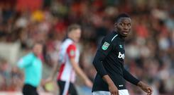 West Ham United's Diafra Sakho during the Carabao Cup Second Round match between Cheltenham Town and West Ham United at Whaddon Road on August 23, 2017 in Cheltenham, England. (Photo by Rob Newell - CameraSport via Getty Images)