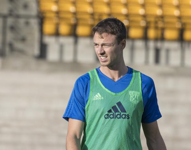 Pre Season Football Friendly; Port Vale versus West Brom; Jonny Evans of West Bromwich Albion warms up before the game (Photo by Conor Molloy/Action Plus via Getty Images)