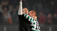 Martin O'Neill and Neil Lennon embrace after Celtic's 2004 clash with Barcelona. Photo: Richard Heathcote/Getty Images