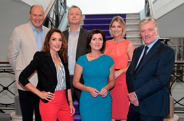 Pictured at the TV3 launch were Ivan Yates, Sarah McInerney, Matt Cooper, Colette Fitzpatrick, Claire Brock and Pat Kenny. Photo: Brian McEvoy