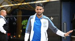 Riyad Mahrez of Leicester City arrives at Molineux Stadium ahead of the pre season friendly between Wolverhampton Wanderers and Leicester City on July 29th, 2017 in Wolverhampton, United Kingdom (Photo by Plumb Images/Leicester City FC via Getty Images)