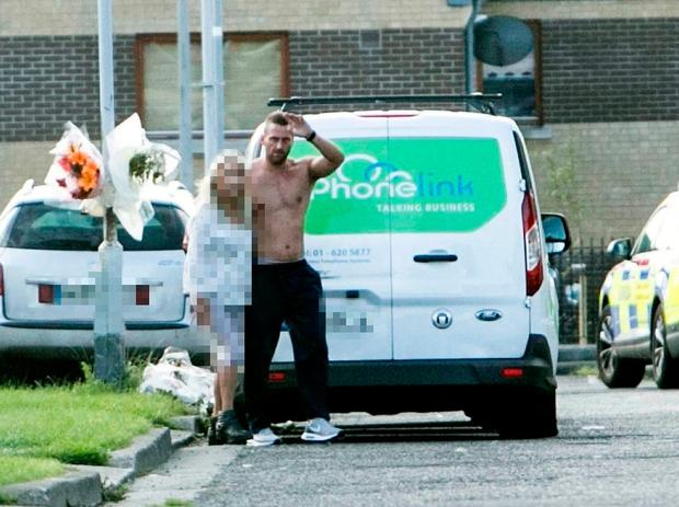 Derek 'Bottler 'Devoy pictured at the scene of the shooting on Balbutcher Drive Ballymun.