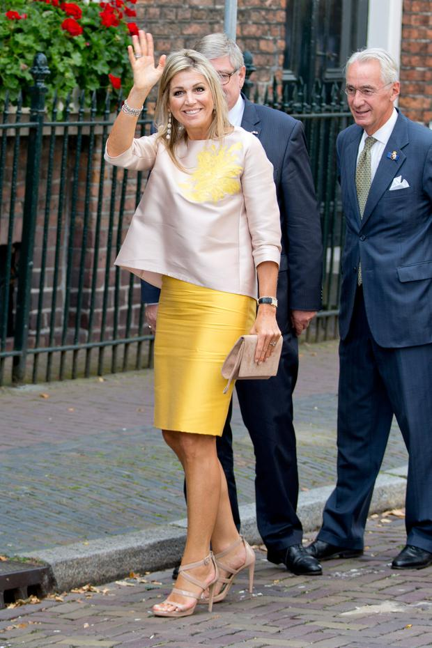 Queen Maxima of The Netherlands attends the 650th anniversary of the Bartholomeus Gasthuis on August 24, 2017 in Utrecht, Netherlands.The Bartholomeus gasthouse was founded in 1367 by an unknown citizen of Utrecht as shelter for pilgrims and homeless. (Photo by Patrick van Katwijk/Getty Images)