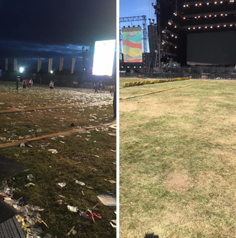 Ryans Cleaning working through the night on festival arena